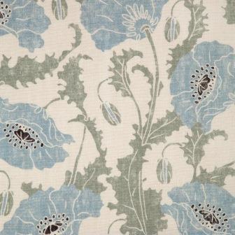 blue poppies emily burningham linen fabric