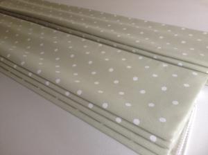 dot fabric green white roman blind