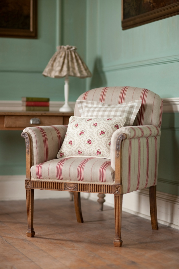 Inchyra - Linens - Chair covered Ticking Cardinal 1 LS HR